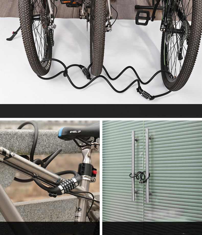 WHEELUP Updated Version 1.2M Five Password Anti-theft Mountain Bike Code Lock Cable Bike Lock