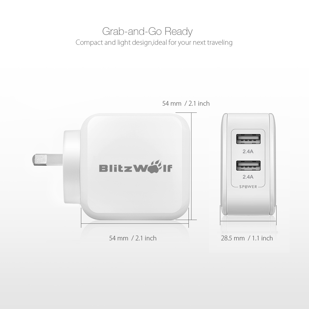 BlitzWolf® BW-S2 4.8A 24W Dual USB AU Charger With Power3S Tech for iphone X XS MAX XR 8Plus Xiaomi