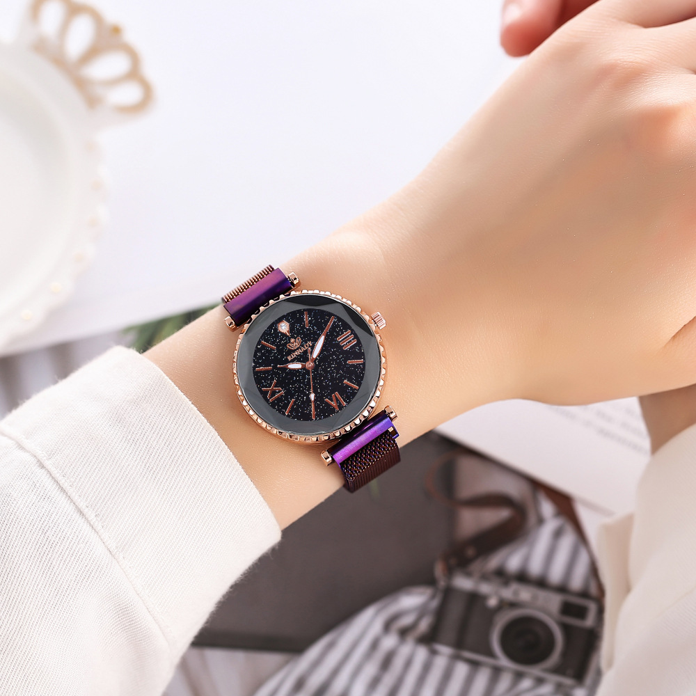 Starry Sky Mesh Magnet Buckle Casual Woman Quartz Watch