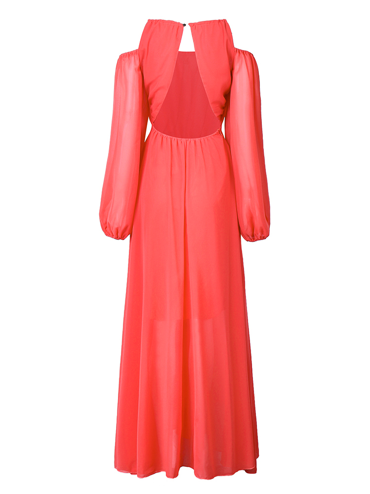 Elegant Women Chiffon Long Sleeve Off Shoulder Solid Maxi Dress