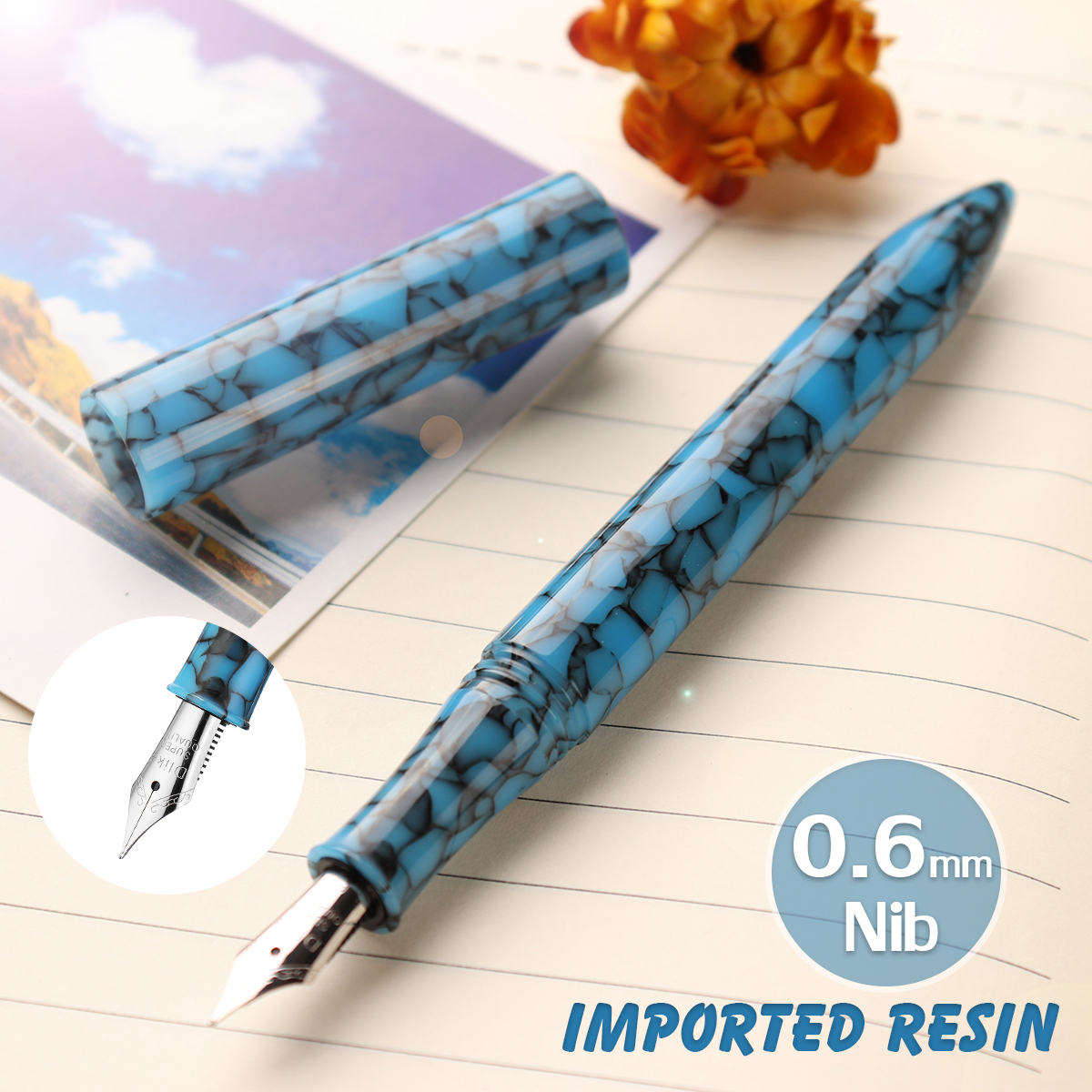 Delike 0.6mm Nib Resin Fountain Pen Rotating Ink Calligraphy Writing With Box For Office School