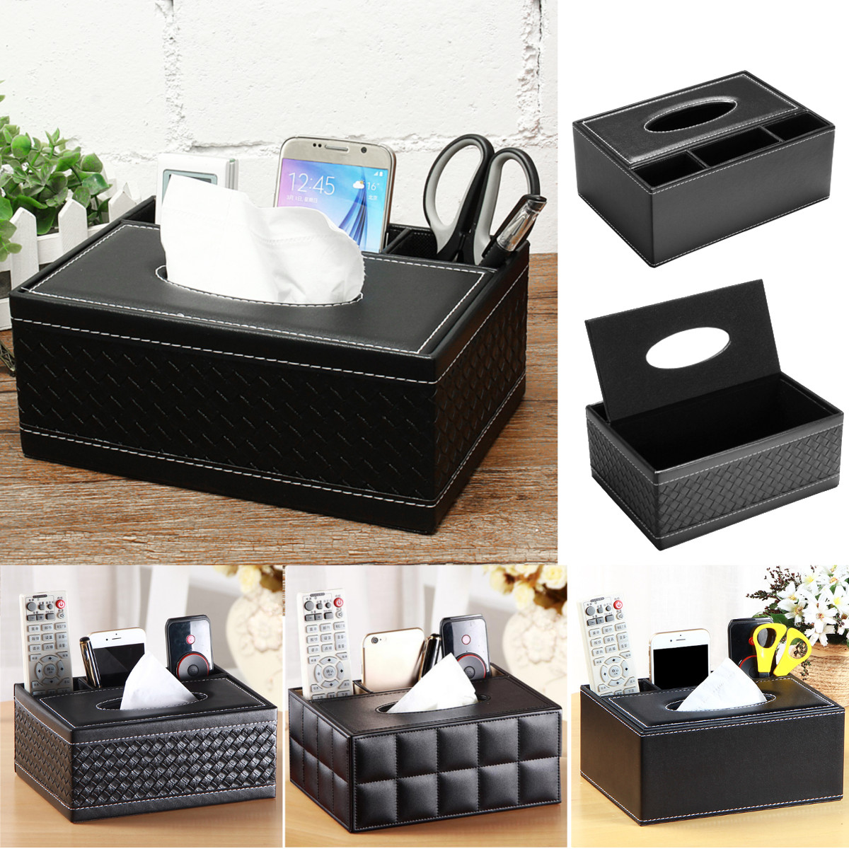 Rectangle PU Leather Tissue Box Paper Holder Case Cover Car Napkin Case Storage