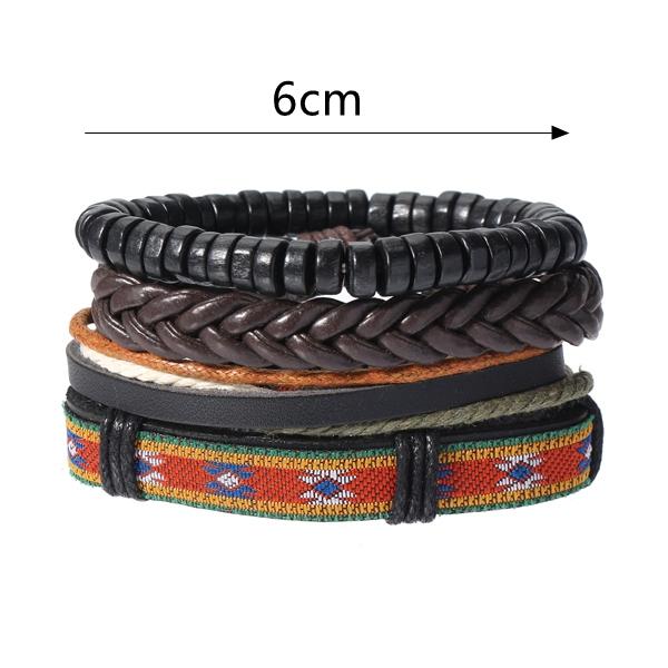 Vintage Adjustable Multilayer Braided Weave Leather Bracelet
