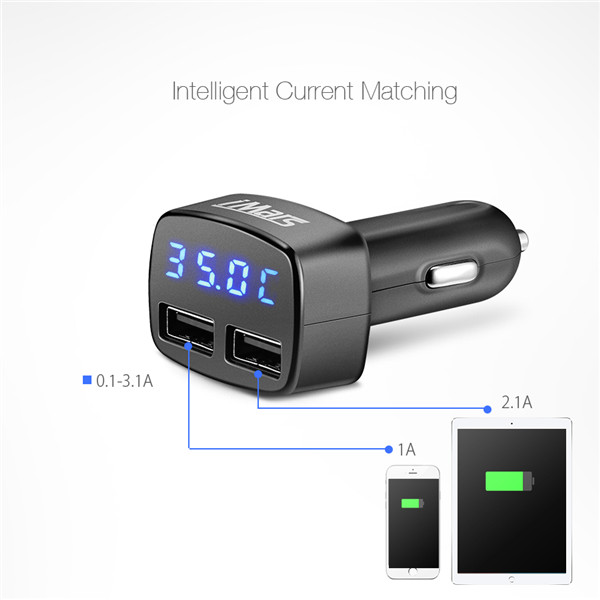 iMars™ iM-C2 4 in 1 Dual USB Car Charger Adapter 5V 3.1A Bullet Car Charger for Cell Phone iPhone