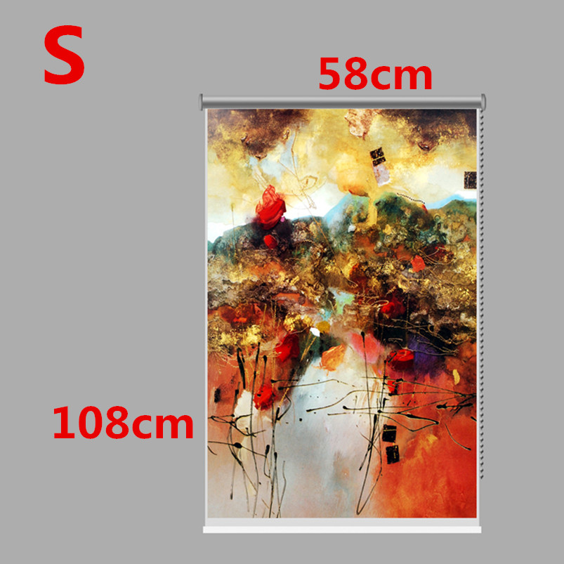 PAG Wall Decor Window Curtain Roller Shutters Colorful Abstract Painting Roller Blind Background