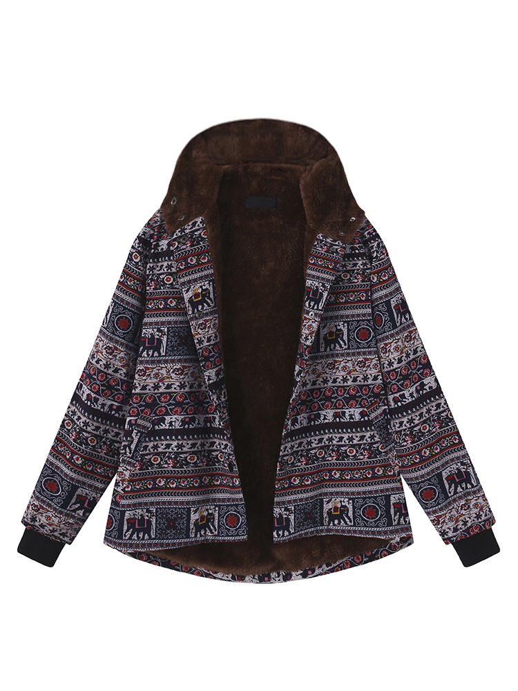 Ethnic Print Fleece Thick Women Hooded Coat