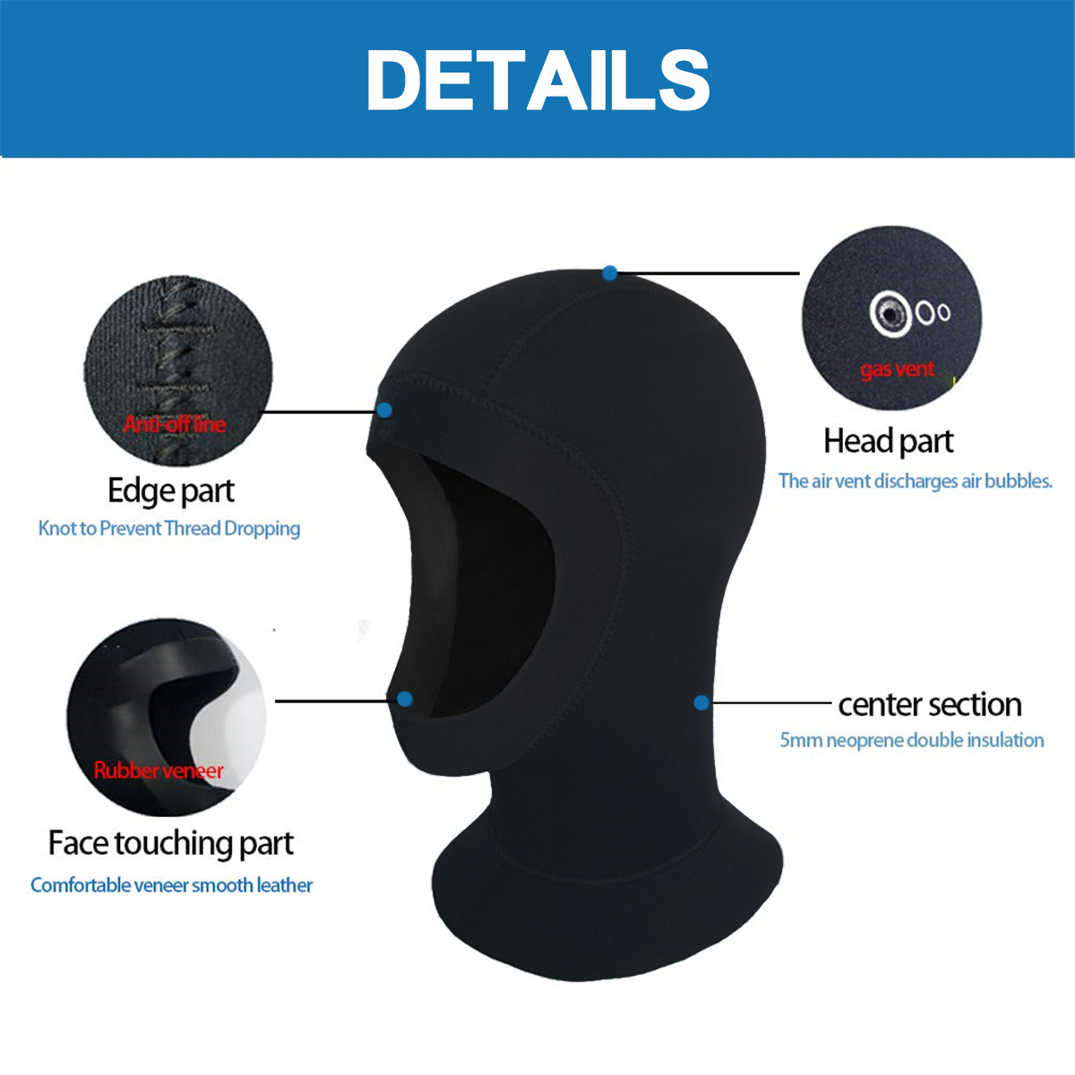 5mm Neoprene Scuba Diving Hood Mask Warm Water Sports Swimming Hat Wetsuit Cap Head Cover