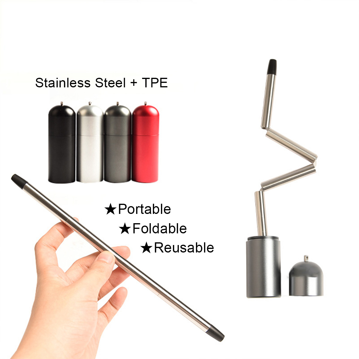 Reusable Straw Stainless Portable Collapsible Travel Outdoor Home Kitchen Bar Accessories Foldable Cup Water Bottle Straws Drinkware Accessory