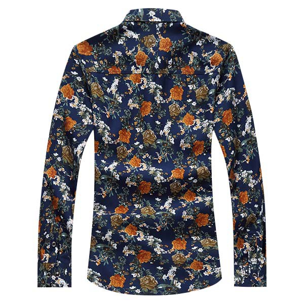 Mens Plus Size S-5XL Floral Printing Turn-down Collar Long Sleeve Casual Shirt Three Patterns