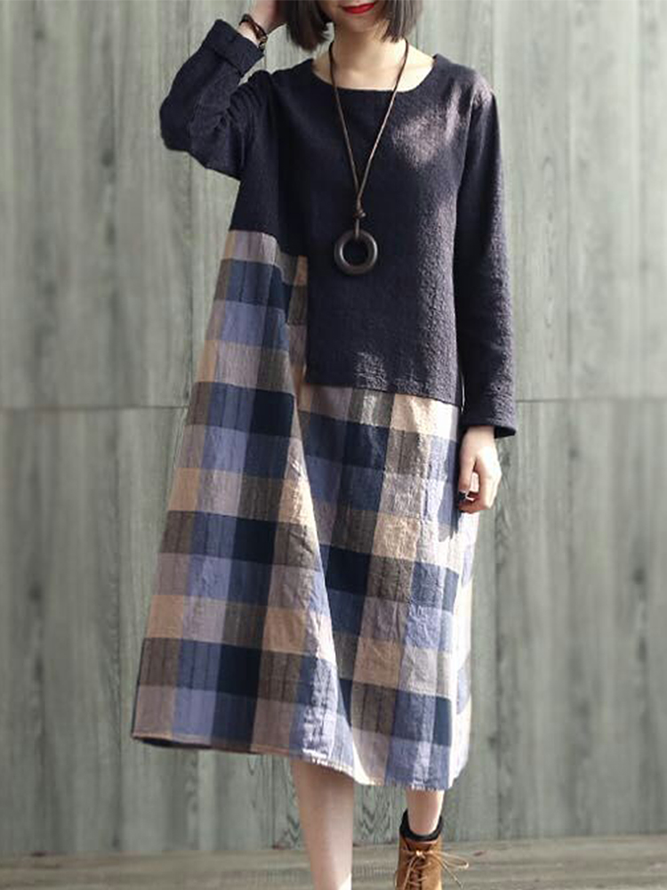 Plaid Patchwork Loose Dress