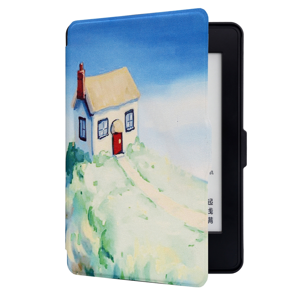 ABS Plastic Dream House Painted Smart Sleep Protective Cover Case For Kindle Paperwhite 1/2/3 eBook