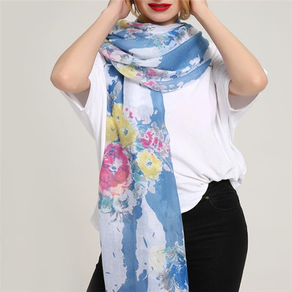 Women Chiness Watercolor Painting Scarf Flower Shawl