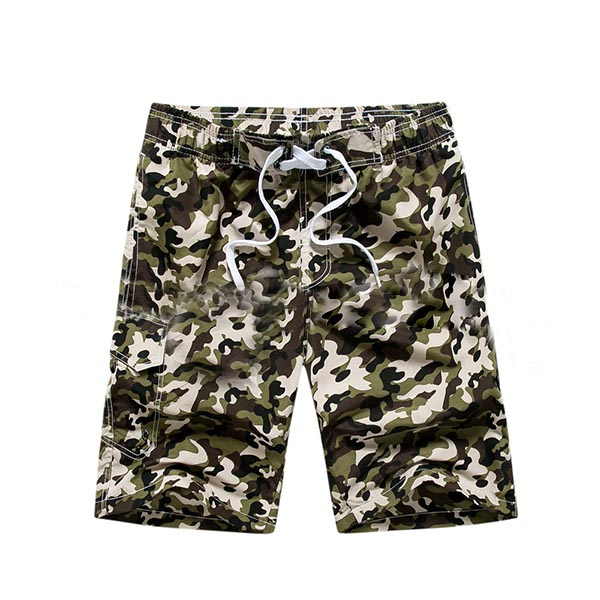 Camo Summer Swim Surf Drifting Casual Holiday Quick Drying Loose Beach Shorts for Men