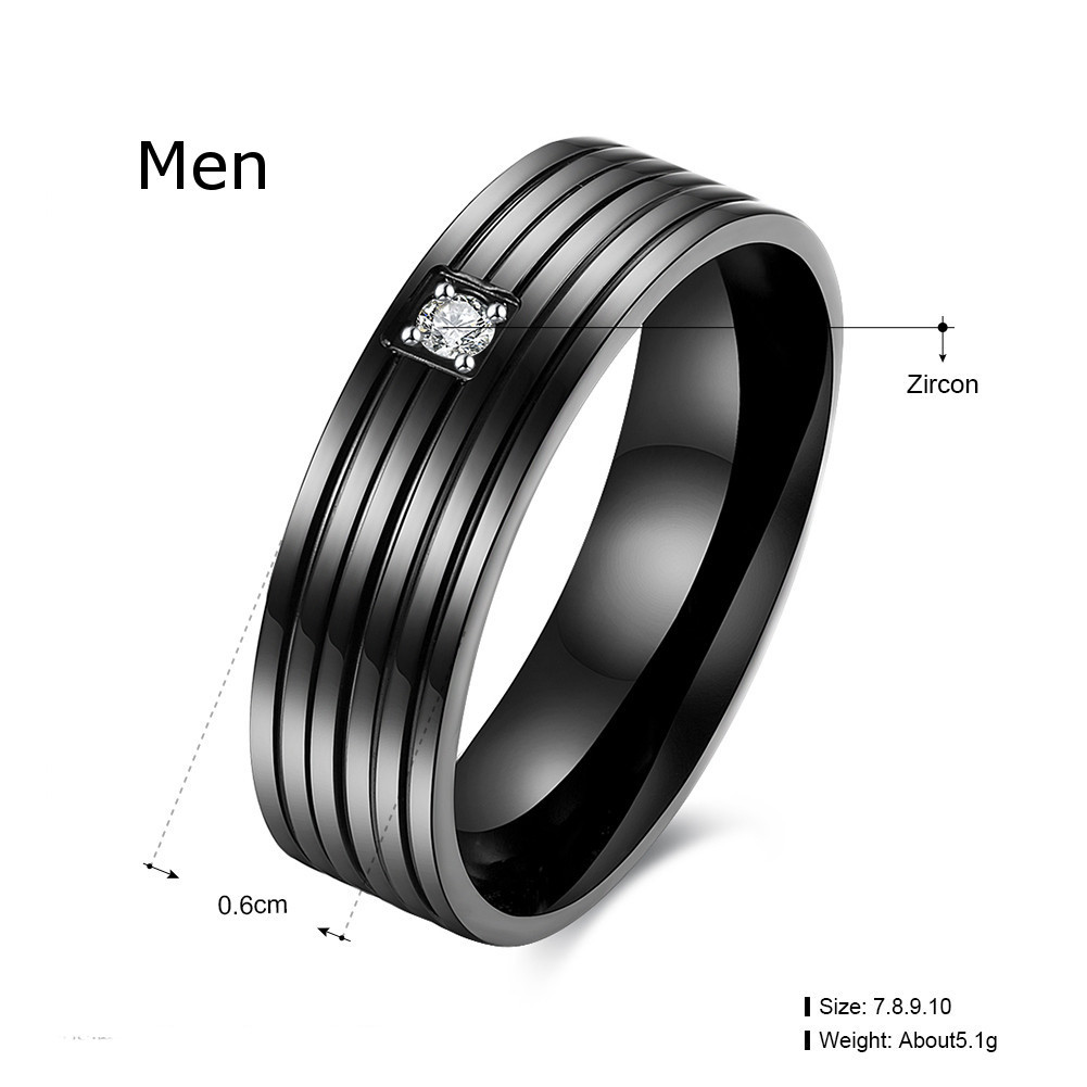 Black Zircon Stripe Simple Gift Couple Lover Love Stainless Steel Finger Ring Women Men
