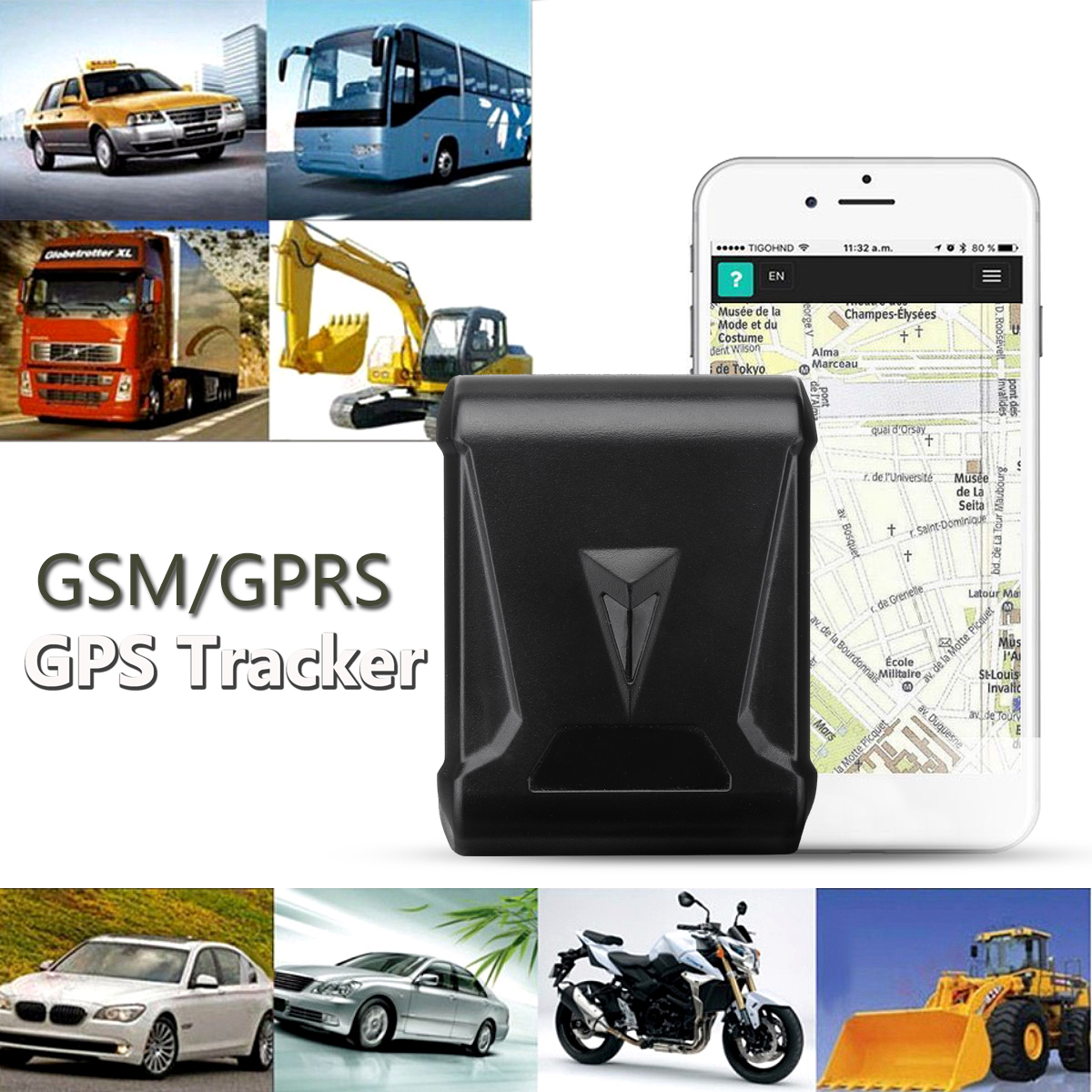Waterproof GSM GPS Magnetic Tracker Locator LBS WiFi Real Time Vehicle Tracking