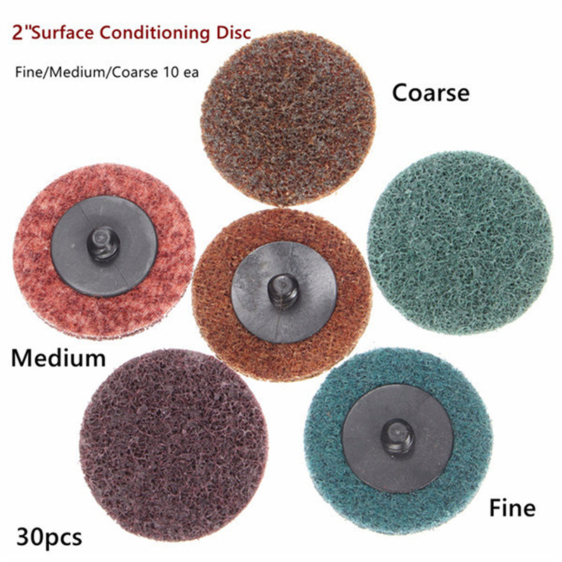 30pcs 2 Inch Roll Lock Sanding Disc Fine Medium Coarse Surface Conditioning Disc