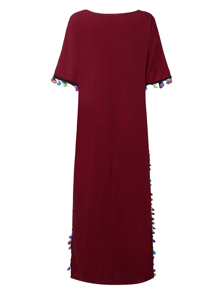 Casual Women Long Dress Loose Short Sleeve Tassels Maxi Dresses
