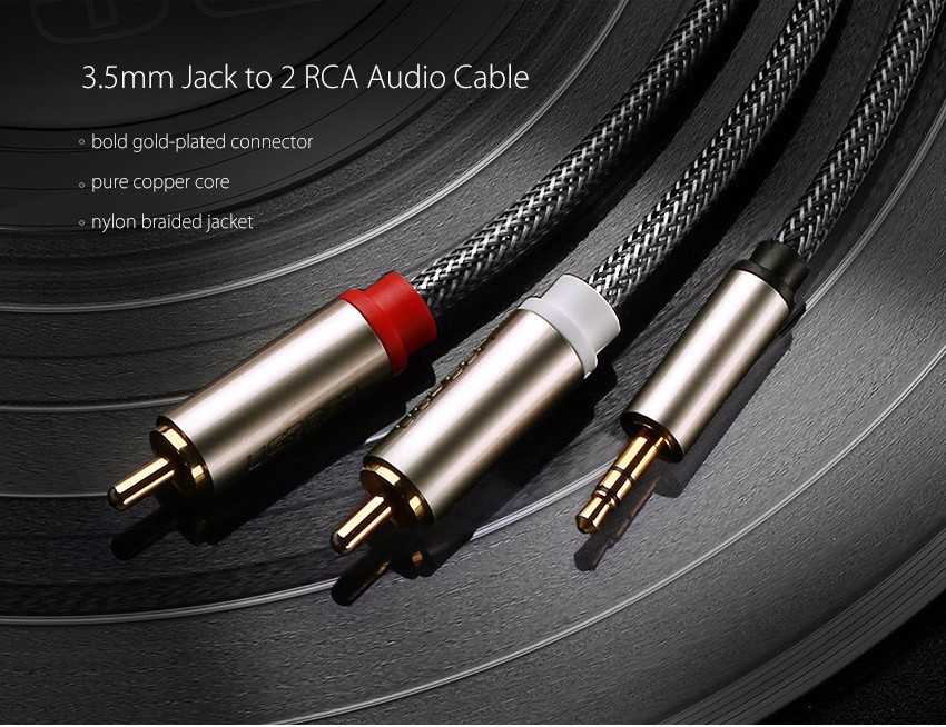 UGreen AV135 3.5mm to 2RCA Male to Male Audio Cable for Phone Speaker Amplifier
