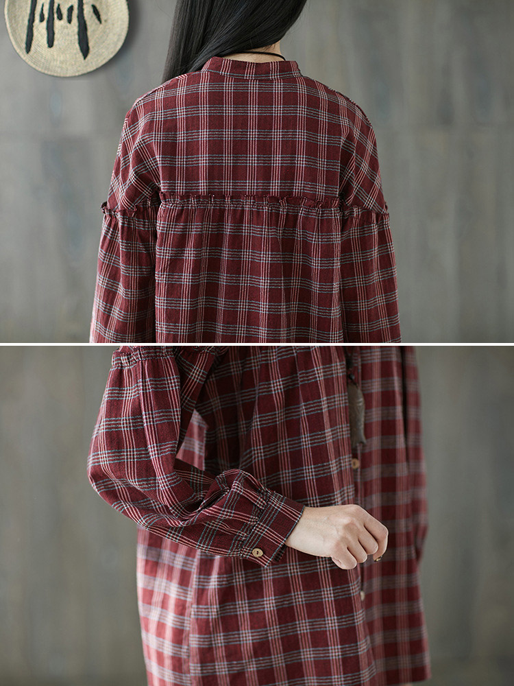 Vintage Plaid Button Down Stand Collar Stitching Blouse