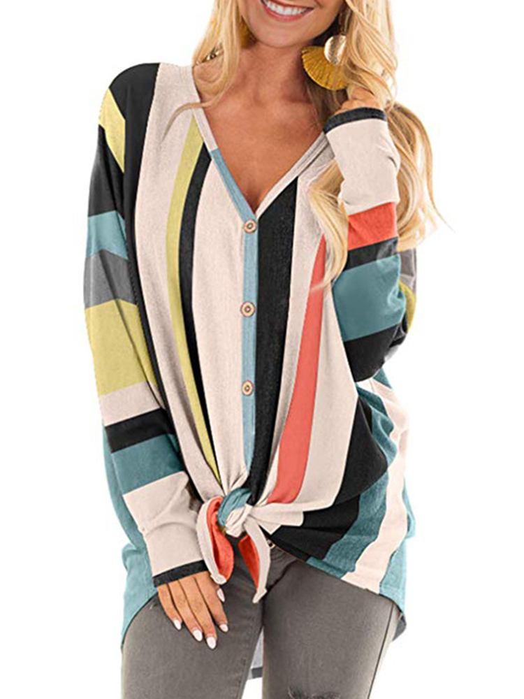 Casual Women V Neck Button Stripe Long Sleeve Blouse