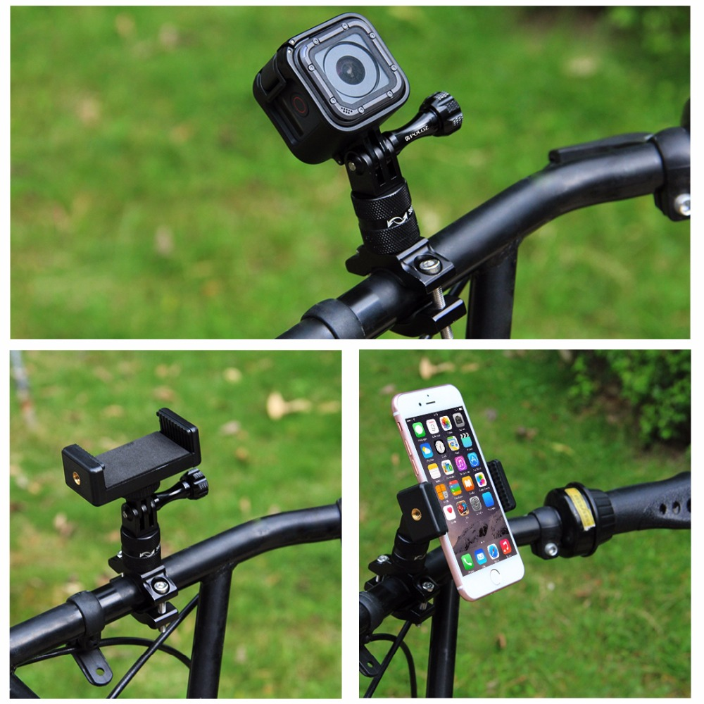PULUZ PU223 Bicycle Aluminum Handlebar Adapter Mount Stand Holder for Action Sportscamera