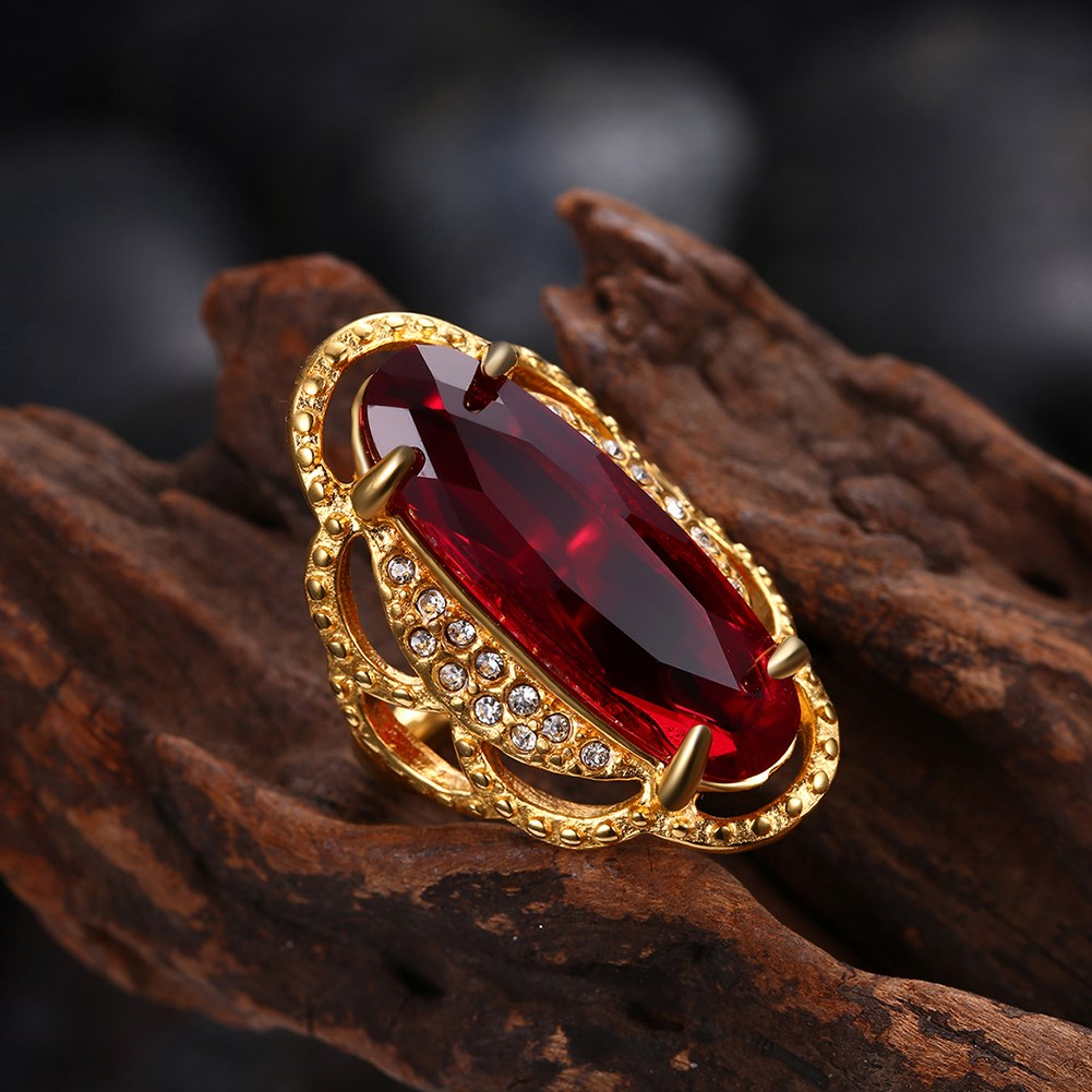 Titanium Steel Red Glass Rhinestone Ring Gold Plated