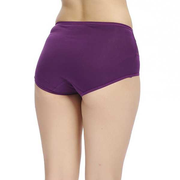 Women Comfy Soft Cotton Mid Waist Underwear Sexy Lace Breathable Hips Up Panties Briefs