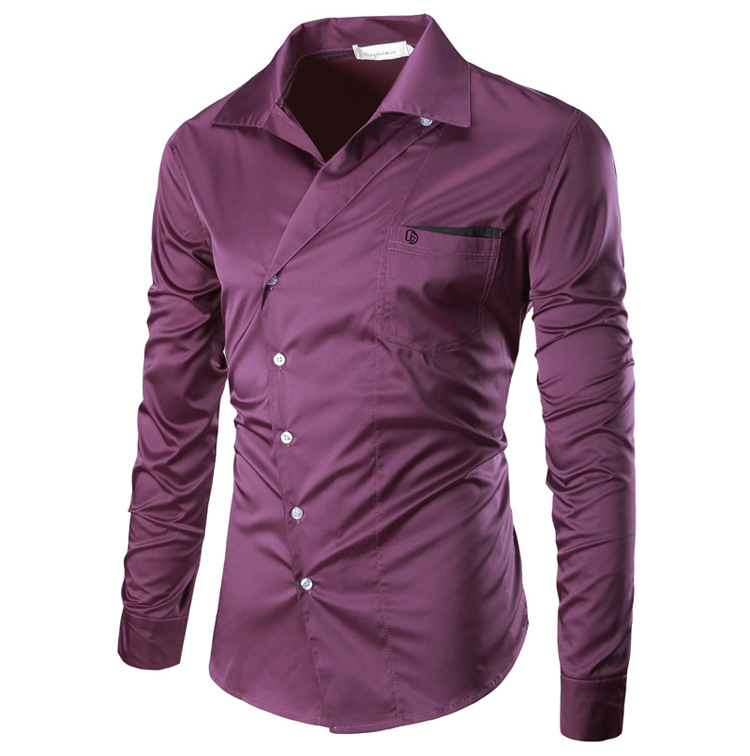 Mens Fashion Personality Oblique Placket Design Pure Color Long Sleeve Dress Shirts