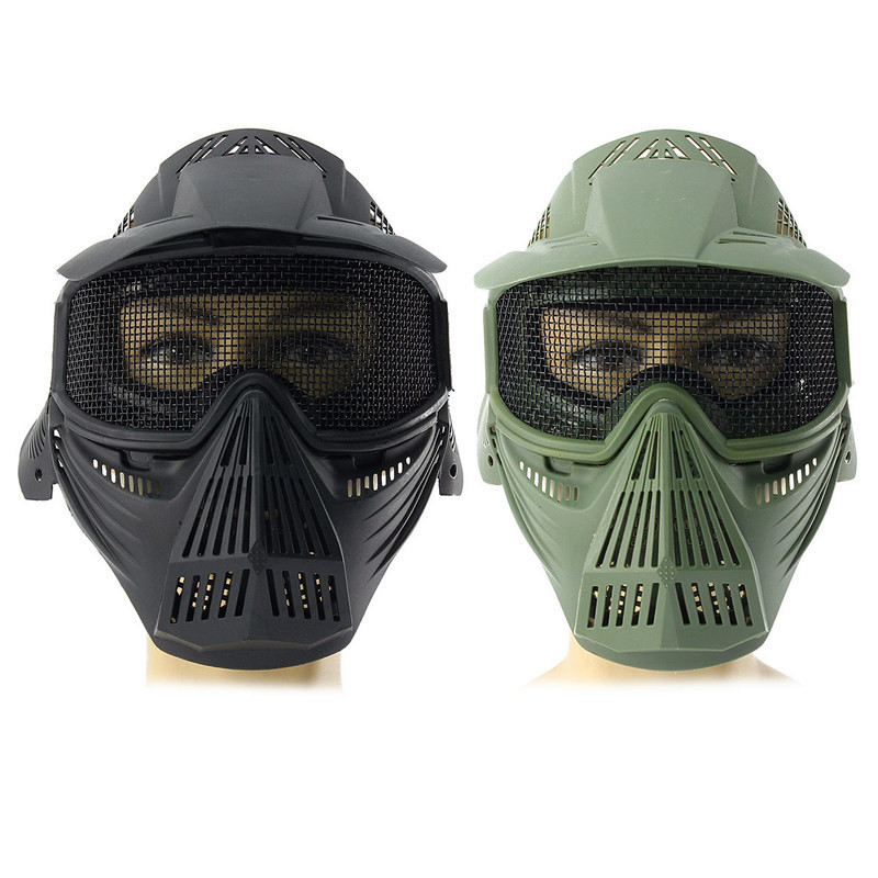 Tactical Airsoft Pro Full Face Mask with Safety Metal Goggles Protection