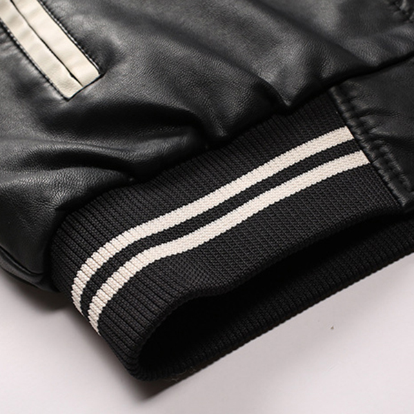Varsity Jacket Fleece Patchwork Zipper Casual Faux Leather