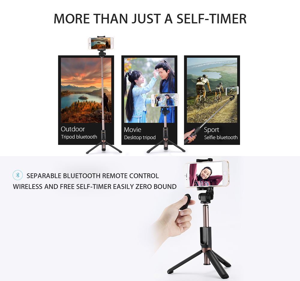 Remax P9 3 in 1 Bluetooth Mini Extendable Folding Tripod Selfie Stick For iPhone X Oneplus 5 Xiaomi6
