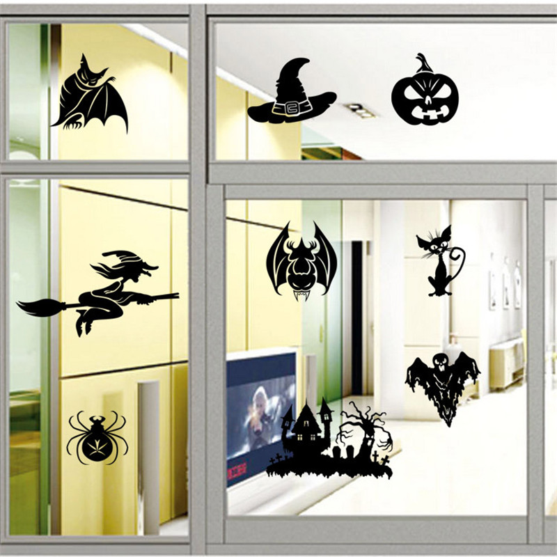 Halloween Home Decoration Removeable Witch Series Wall Stickers Toys Ornament Props Kids