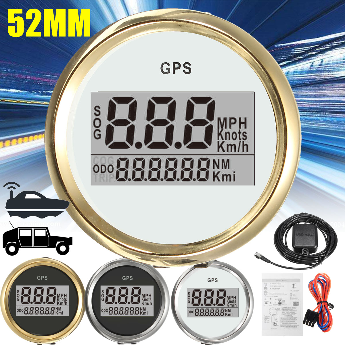 4 Types Auto Gauge Digital GPS Speedometer 52mm Speed Odometer Speed Chart