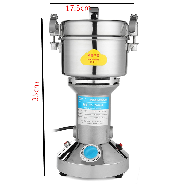 AC 220V 3000W Electric Herb Grain Grinder Cereal Mill Flour Coffee Food Wheat Machine