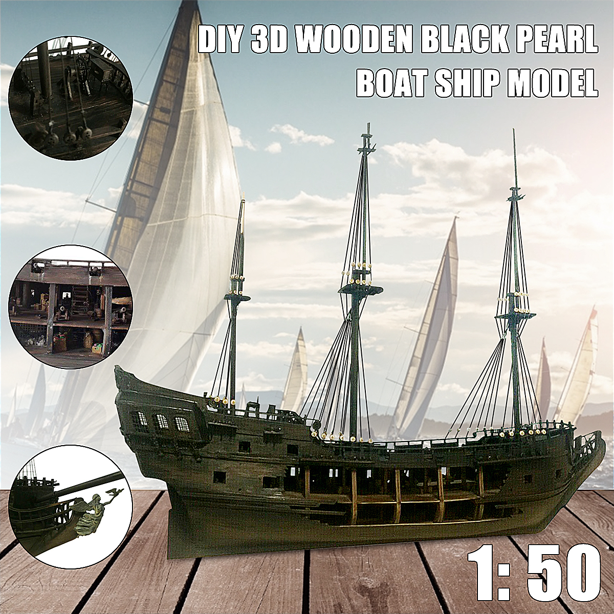 Pirate Full Scene Black Pearl Sailing Ship Boats Model Kit DIY Crafts