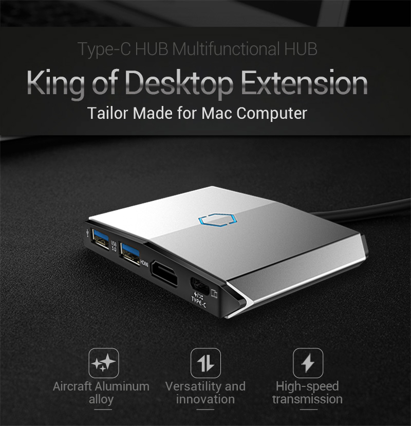 EAGET CH36 High Speed Type-c to USB3.0 HD SD TF Card Reader Type-C Multifunctional Hub for Mac PC