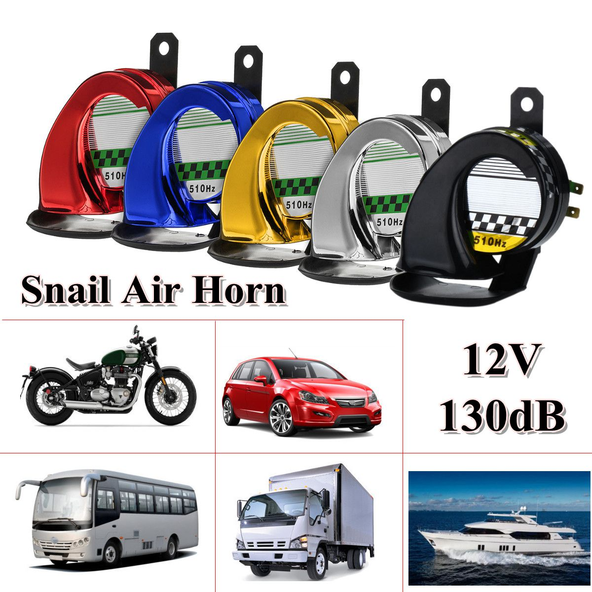 12V 130dB Universal Waterproof Loud Snail Air Horn Siren For Truck Motorcycle Car