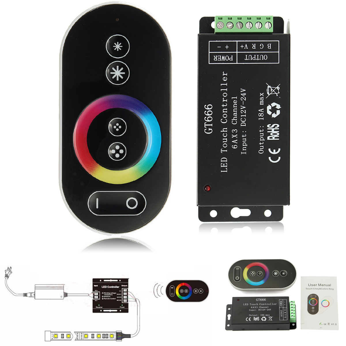 Touch Controller DC12V-24V 18A RF Wireless LED Dimmer Controller for RGB Strip Light