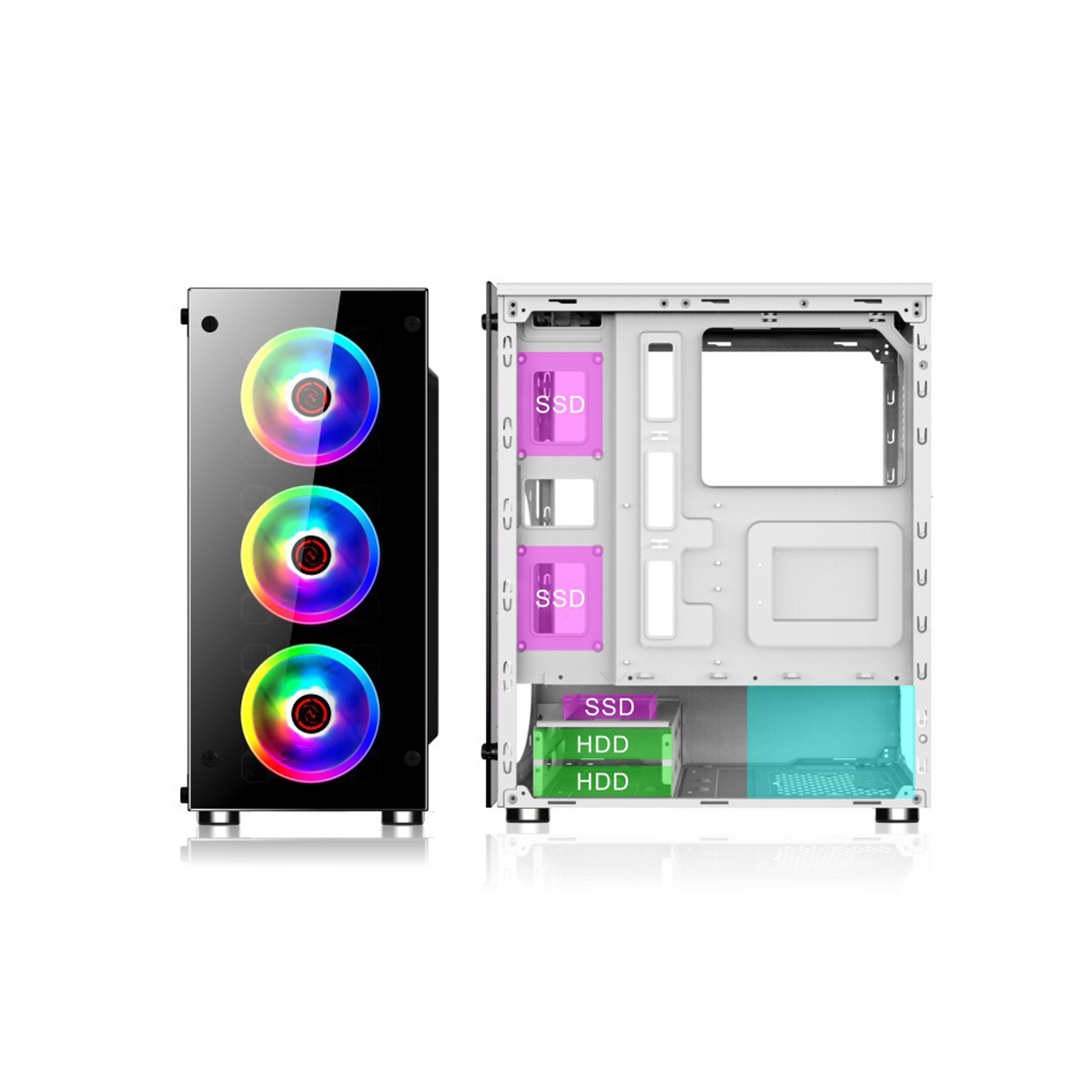 Coolmoon 397*197*423mm Transparent Side Panel ATX Desktop PC Computer Case