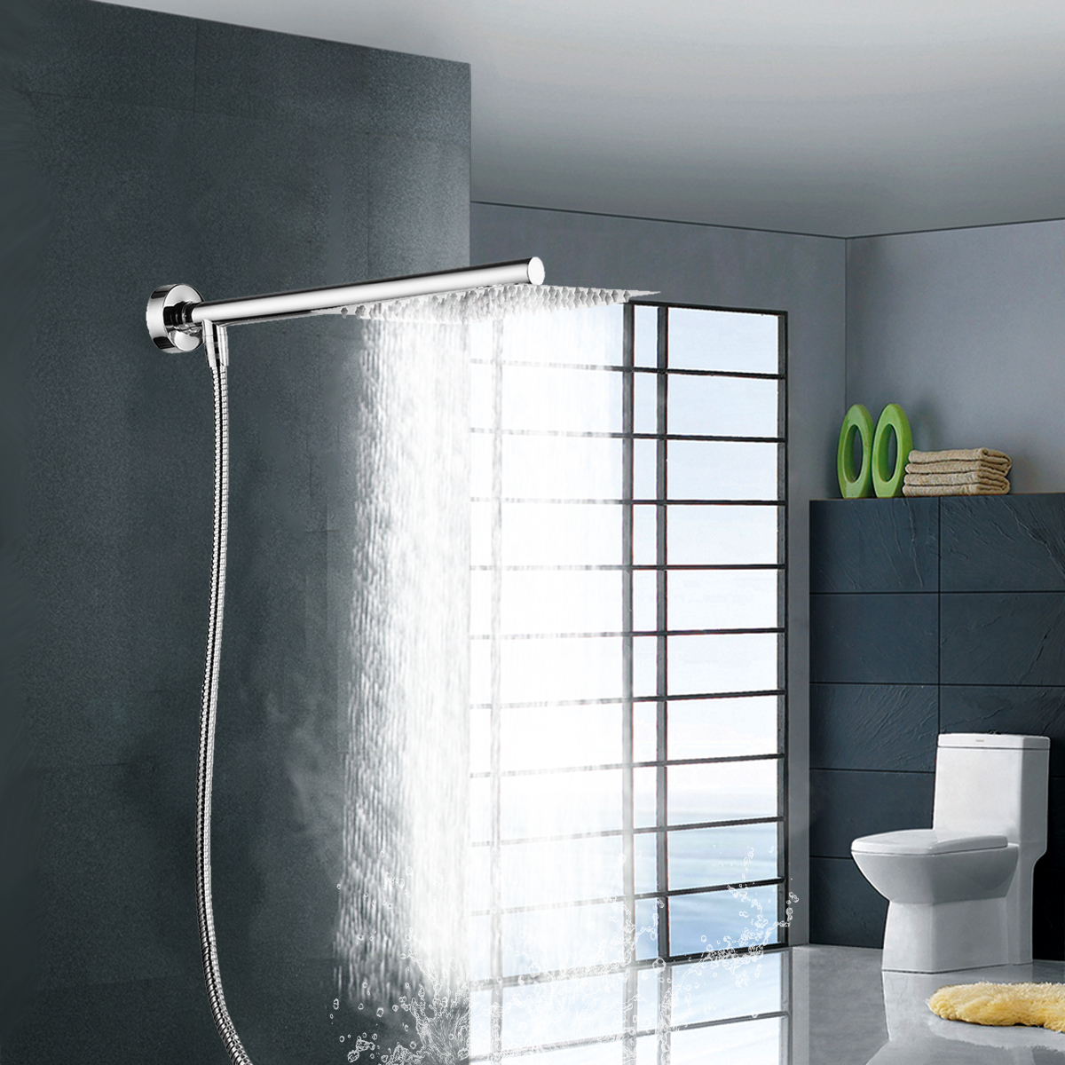 8 inch Rainfall Shower Head with Shower Arm Bottom Entry Kits with Shower Hose