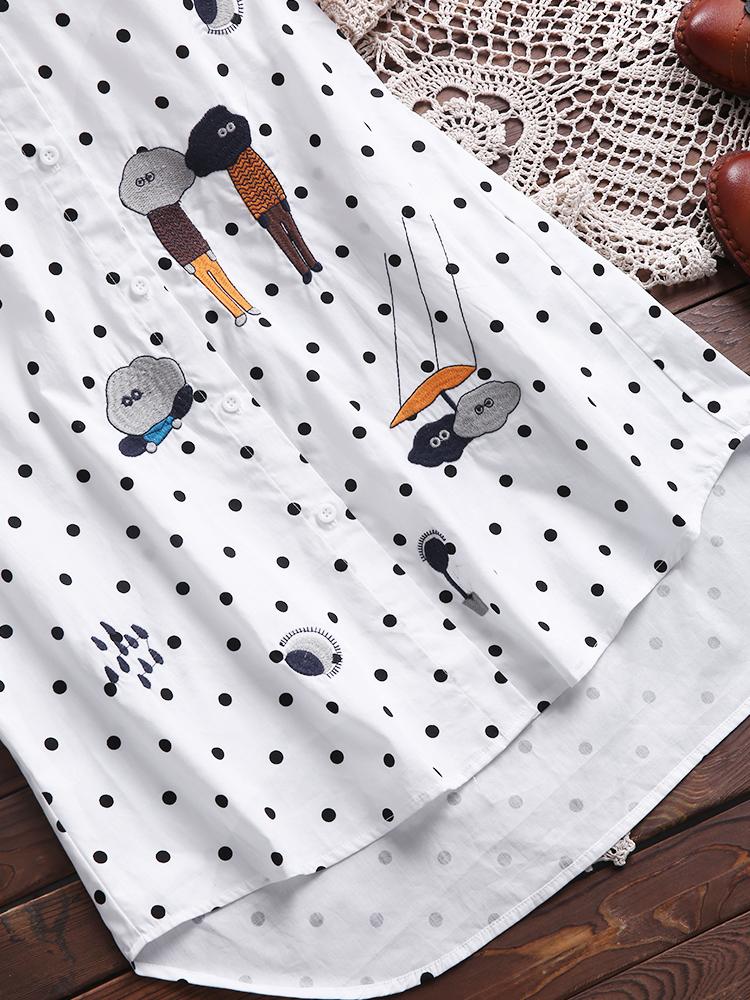 Women Polka Dot Cartoon Embroidery Blouses