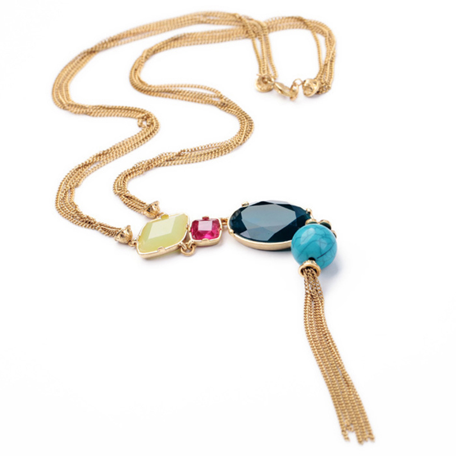 Trendy Tassel Zinc Alloy Resin Beads Long Sweater Necklace
