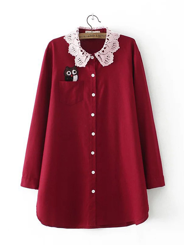 Lace Floral Embroidery Hollow Collar Long Sleeve Blouse