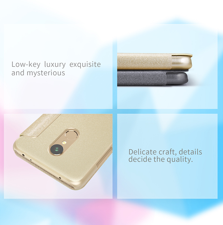 NILLKIN Sparkle Flip Smart Sleep PU Leather Protective Case With Magnetic For Xiaomi Redmi 5 Plus
