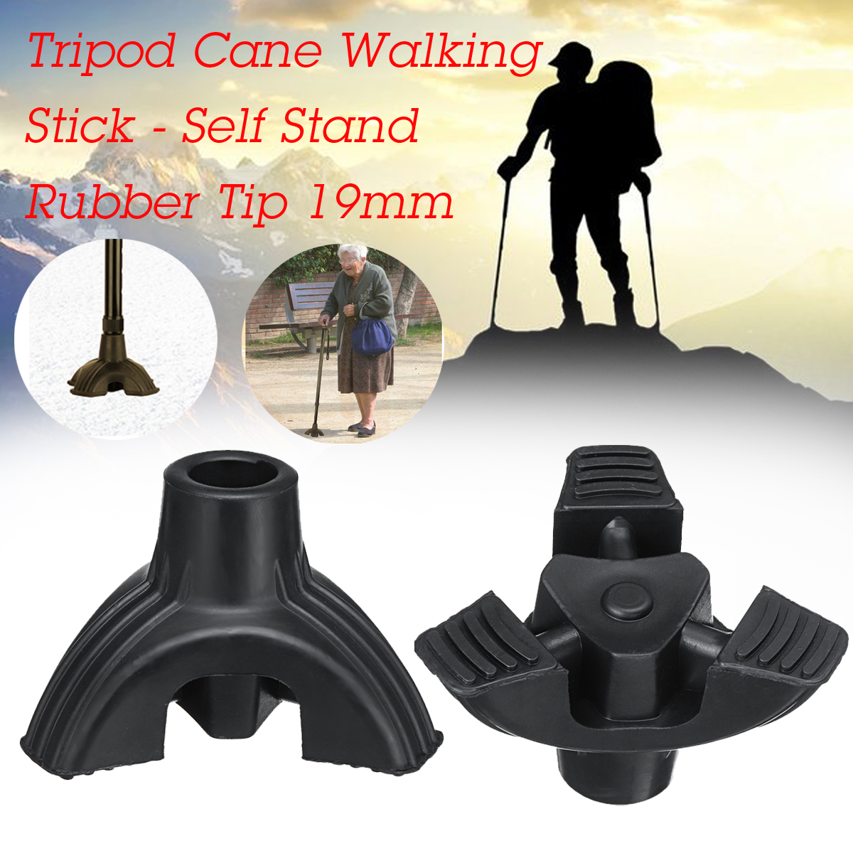 Tripod Cane Walkers Walking Stick Self Stand Rubber Tip 19mm