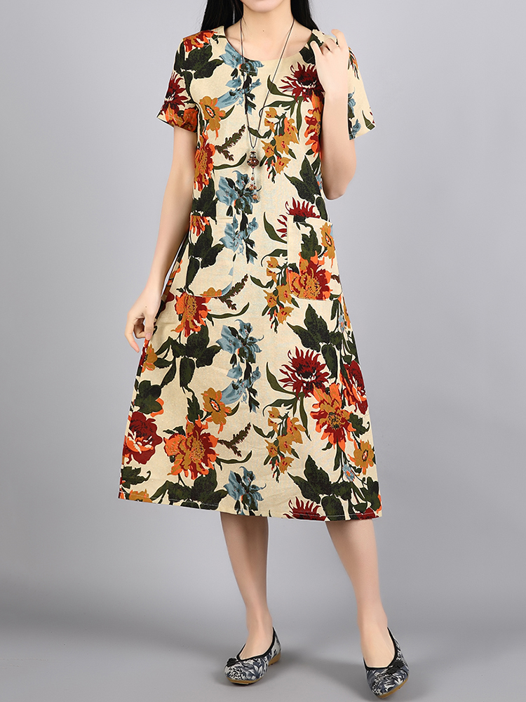 Ethnic Women Short Sleeve O-Neck Pockets Floral Printed Dresses