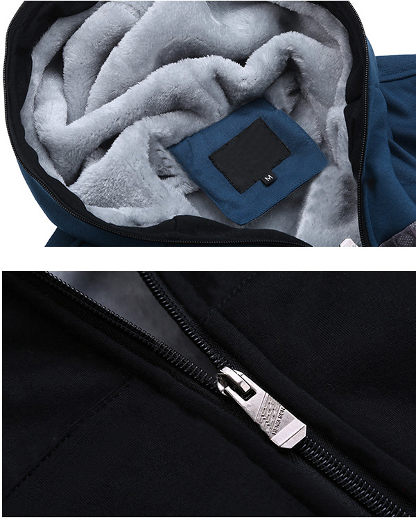Mens Winter Thick Fleece Warm Hoodies Casual Spell Color Zipper Cotton Sweatshirt
