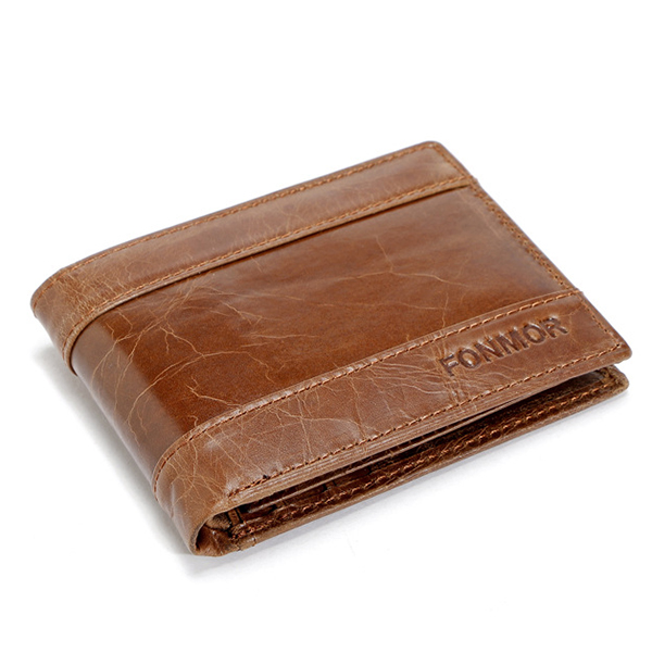 Men Wax Oil Skin Short Wallet Vintage Slimmest Wallet Card Holder