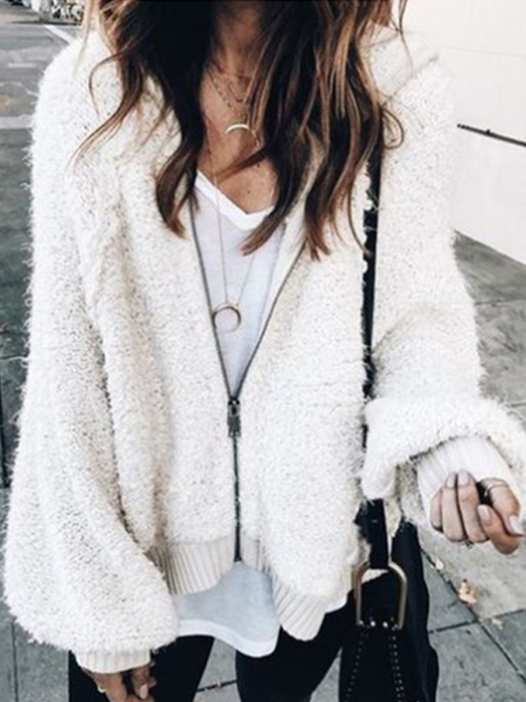 Women Loose Casual Faux Fur Winter Long Sleeve Coat
