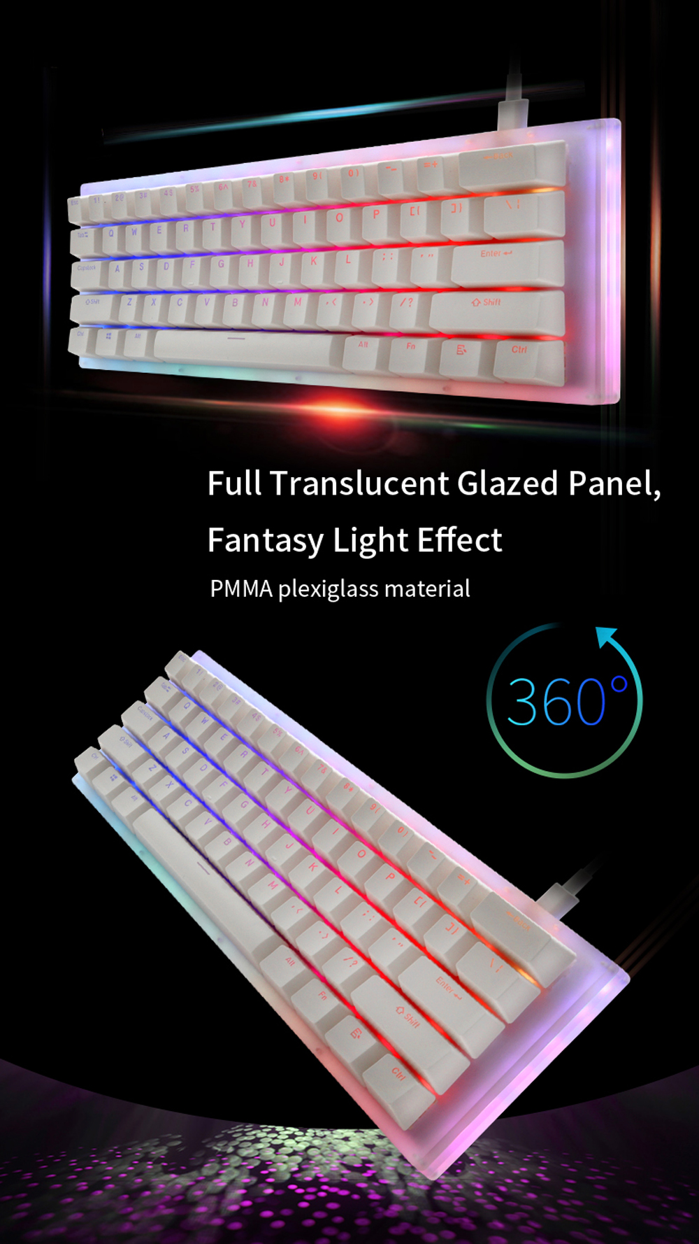 GamaKay K61 61 Keys Mechanical Gaming Keyboard Hot Swappable Type-C 3.1 Wired USB Translucent Glass Base Gateron Switch ABS Two-color Keycap NKRO RGB Gaming Keyboard